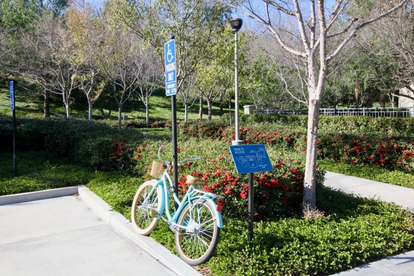 A sunny day showing a blue bicycle leaning against a sign in a park in the Ivy Wreath community of Irvine California.