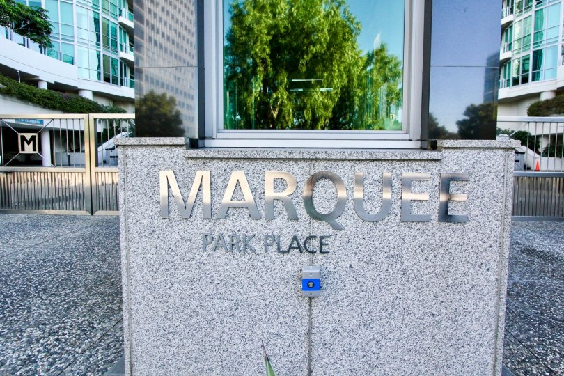 Excellent view with nameplate of Marquee at Park Place in Irvine