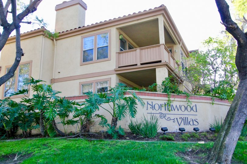 In the Compound wall of the Villa has mentioned 'Northwood Villas' with plants and meadows