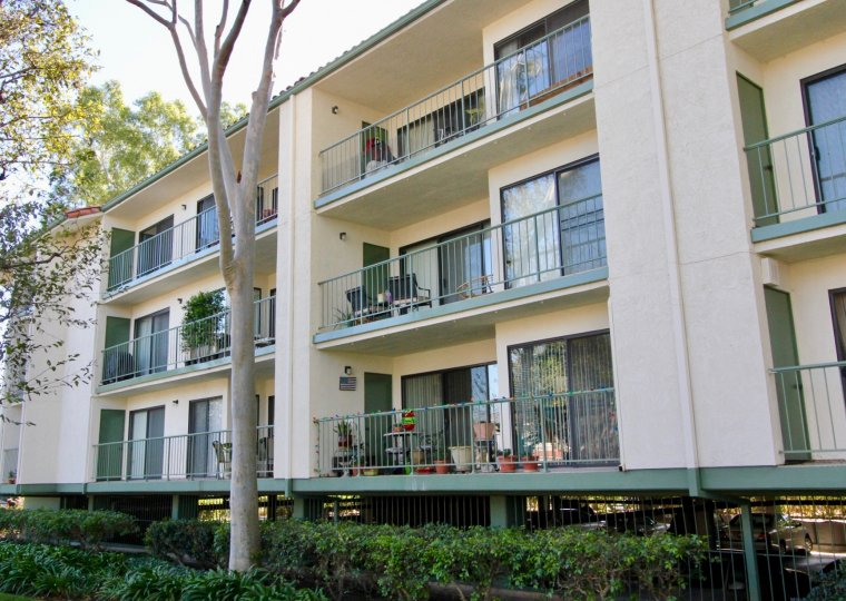Building in Orangetree Terrace with balconies with potted plants and trees and hedges next to it.