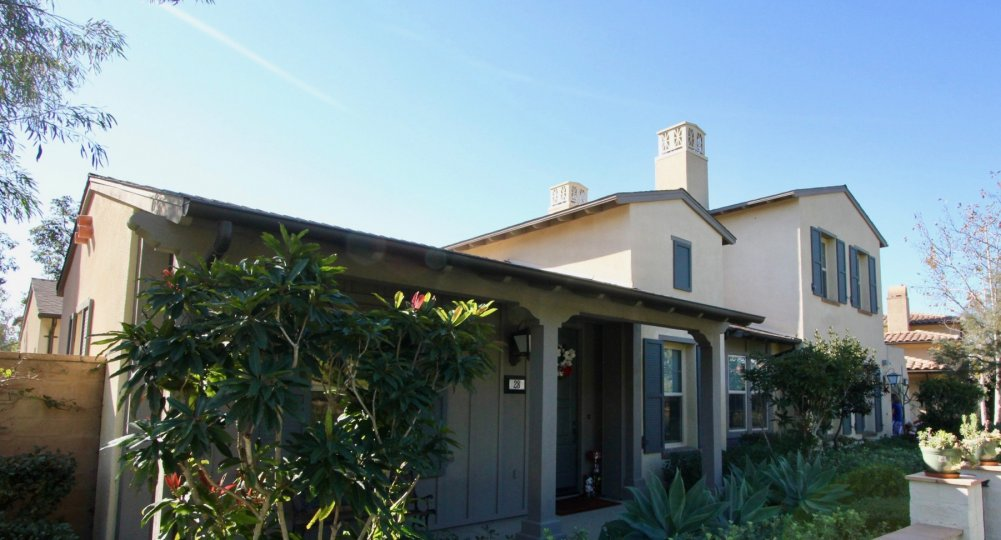 Plant friendly housing with chimneys inside Paloma in Irvine CA