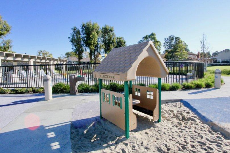 Falbrook Park, children's play area, sand box, splash zone, community park