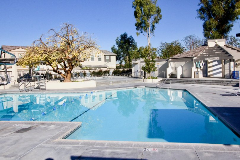 two houses on a sunny day with a view of the pool in Parkside irvine california