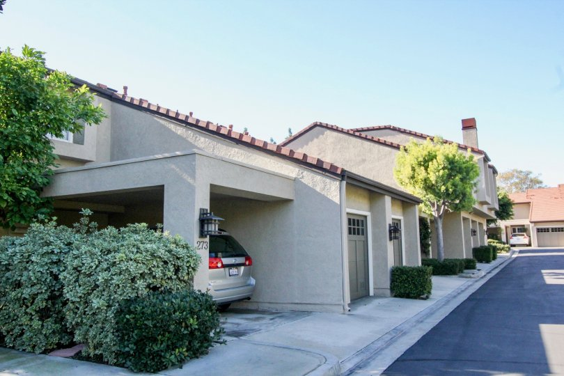 Beautiful street view of the Princeton Townhomes in Irvine, California