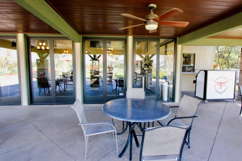 Hotel in Rancho San Joaquin Townhomes has Many dinning tables and fans