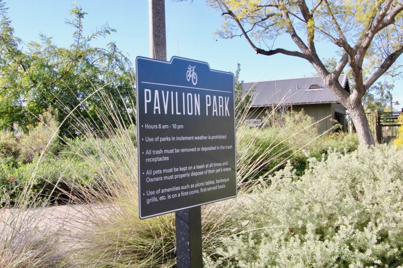 A park sign on a post inside the Roundtree community in Irvine California