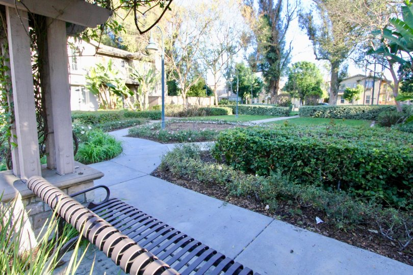 Natural Park in San Juan Bautista has seating bench with light lamp, bushes and trees