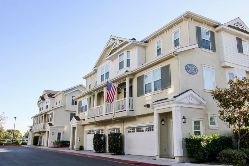 Villas with USA Flags and windows in Savannah of Irvine