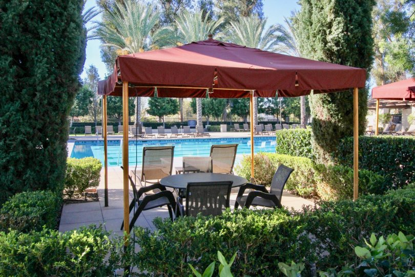 Terrsa facing the swimming pool to relax people in the Serissa at Irvine, California