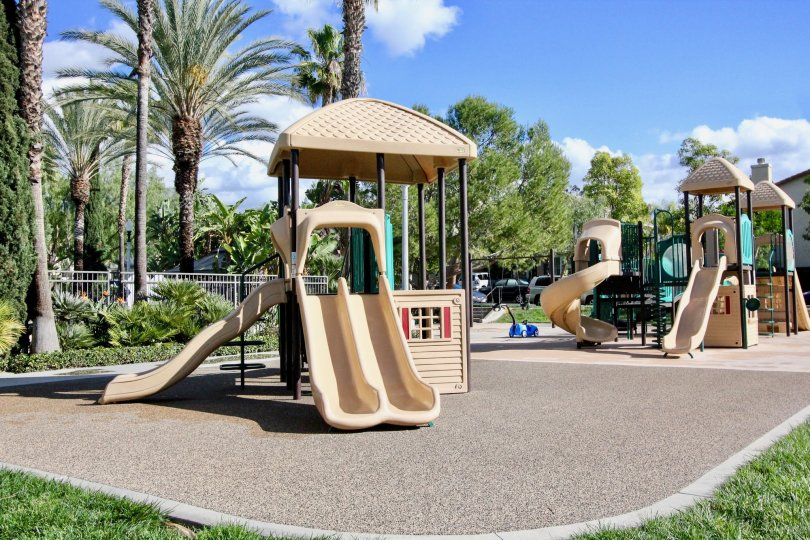 Slides and obstacles inside Sheridan Place in Irvine California