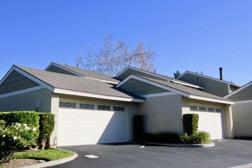 Two homes with attached garages near a driveway at Smoketree in Irvine CA