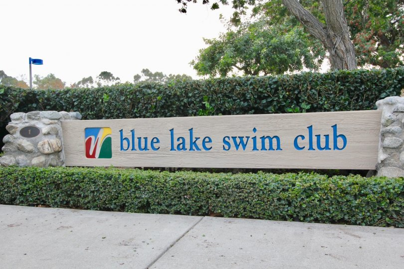 A colorful sign for Somerset's blue lake swim club