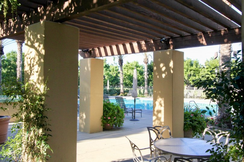 Vines sit on top of a pergola in the community are of the Tamarisk condos.