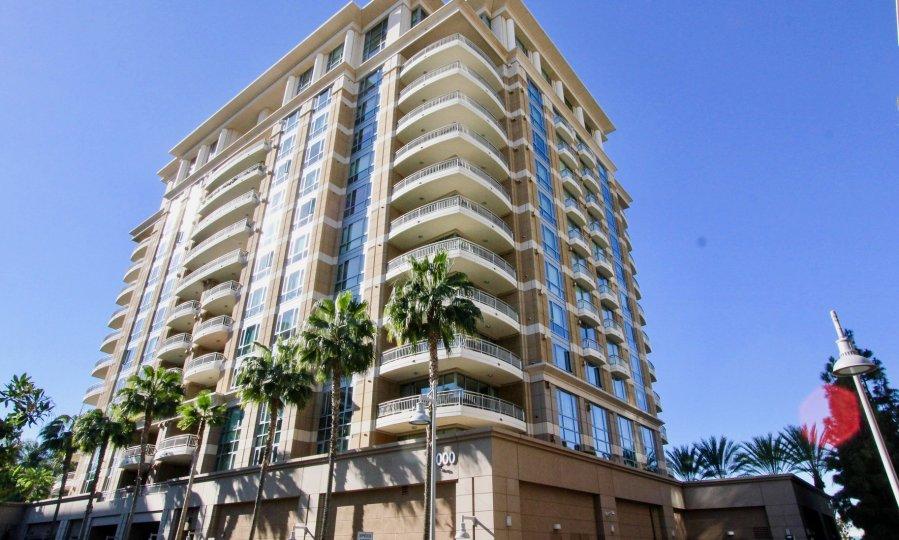 A medium-rise condominium building in The Plaza Irvine community.