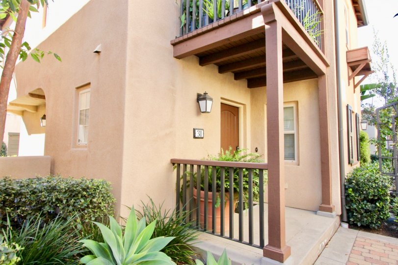 The front porch of an apartment on the first floor in the community of Vientos in Irvine, CA.
