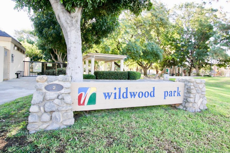 The Wildwood park with a children's playground in the background and trees