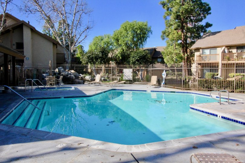A view of the pool and lounge chairs and trees in the Villas community in Irvine, CA