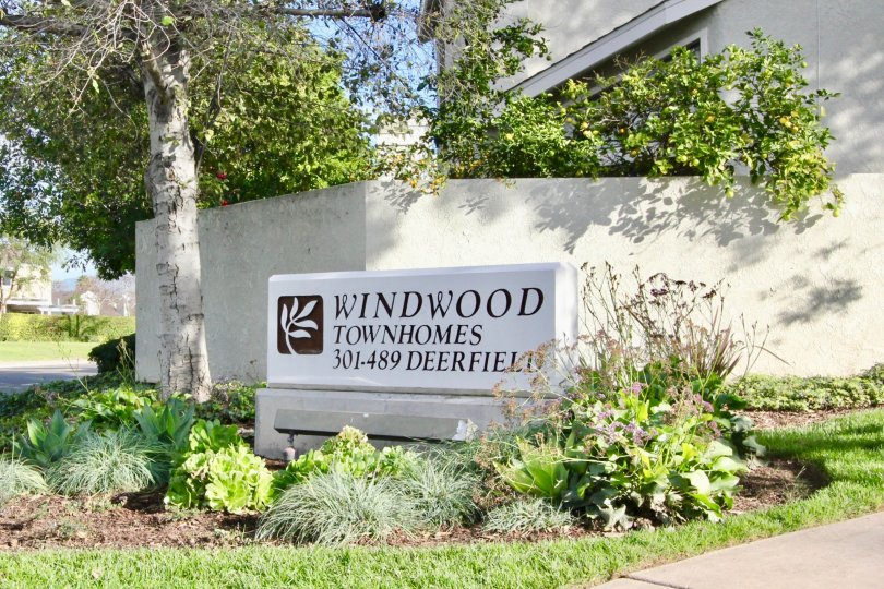A lovely variety of plants surrounding a sign advertising the Windwood Townhomes