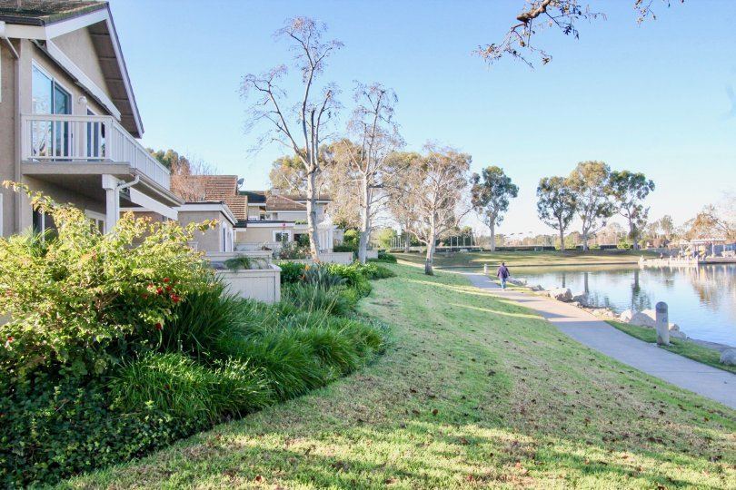 Awesome view of a lake near villas with lawn and trees in Woodridge Grove of Irvine