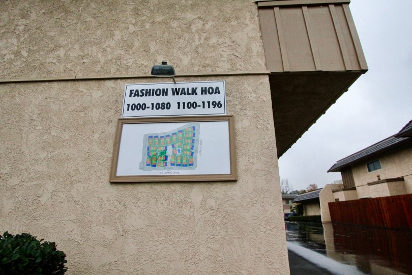Address board with lamp is attached in the Wall of the house in Fashion walk of La Habra city