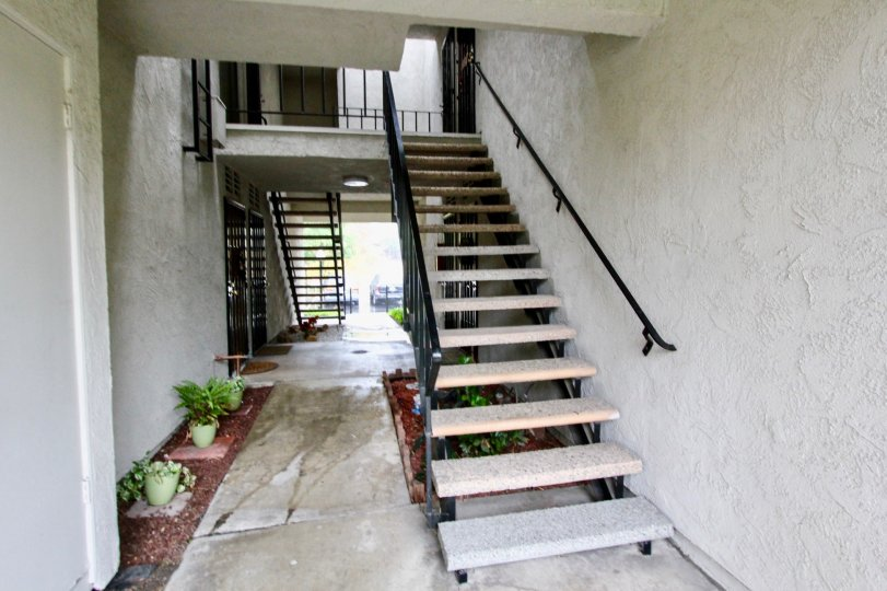 A staircase in the Woodlake Villas with some plants on the floor.