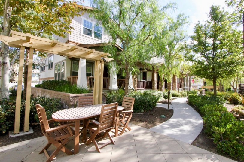 Sun and shade on the patio in the neighborhood of Briar Rose in Ladera Ranch.