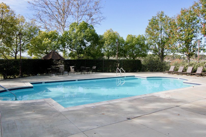 A blue color swimming pool under the clear sky in the Chambray.