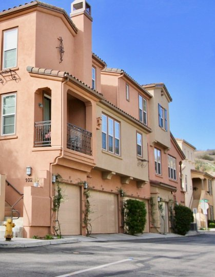 A clear day at Sansovino residences in Ladera Ranch, California.
