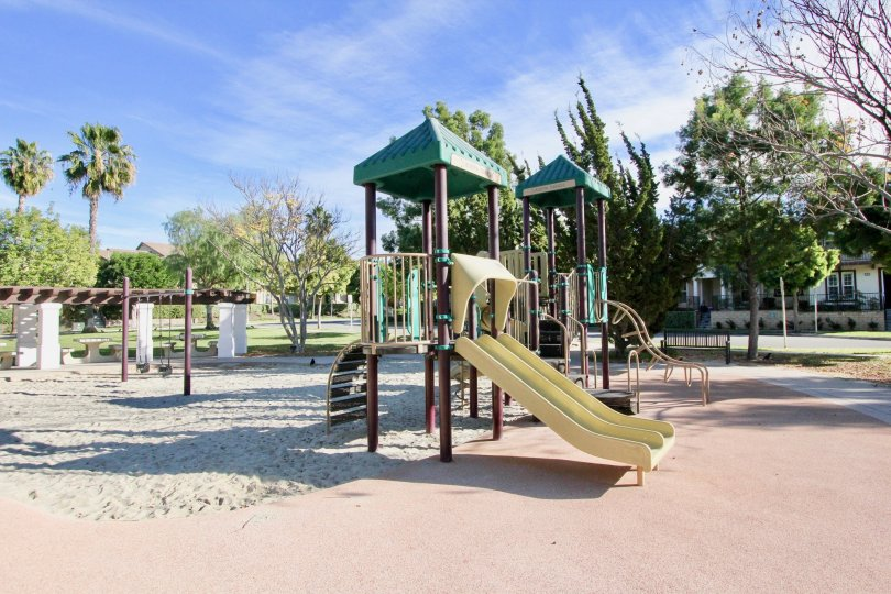 Nice park and play ground on sunny day with play items in St. Mays Road of Ladera Ranch