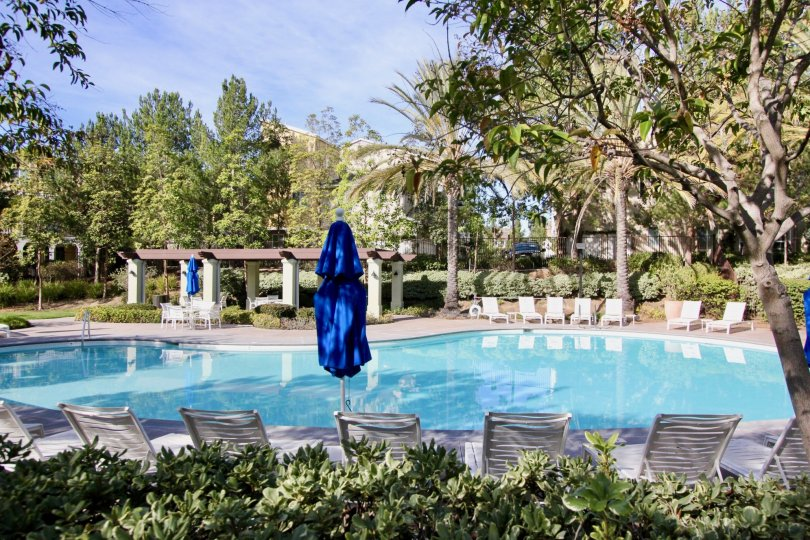 Chairs and pool at Sutters Mill in Ladera Ranch, CA