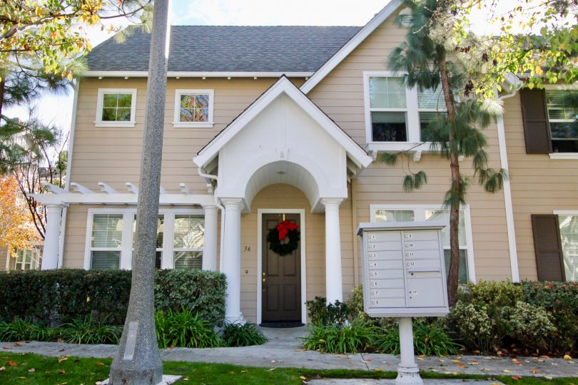 Beautiful home with christmas wreath on the door in Ladera Ranch CA