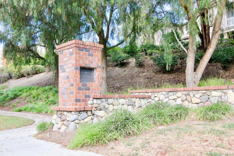 Entry way brick signage at the Three Vines in Ladera Ranch, California