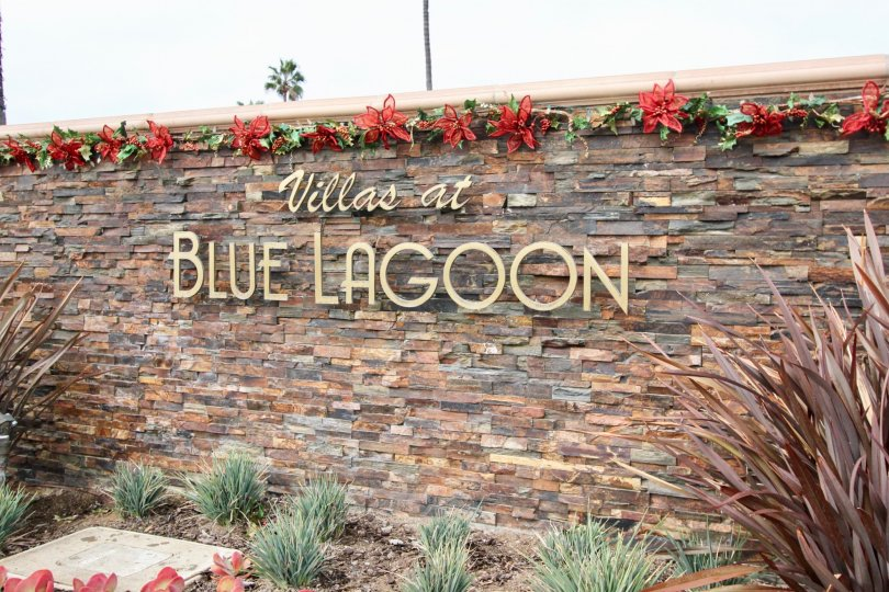 Villas at Blue Lagoon's entrance signage in Laguna Beach, California