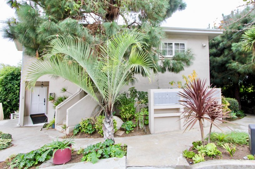 a warm day in the creekside with a house that has garden around and entrance in the side