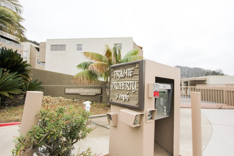 View of Laguna Ocean Vista, located in Laguna Beach, California, from the gated entry access