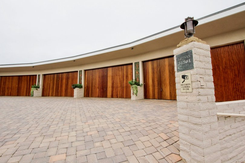 Decorative open space with garage doors in Table Rock community, Laguna Beach, CA