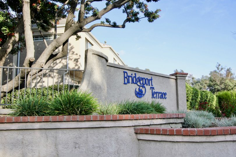 entrance to the Bridgeport terrace rental community with trees and bushes