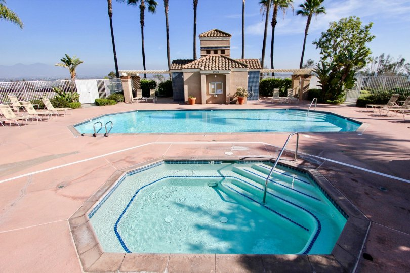 Awesome swimming pool with palm trees in Capri of Laguna Niguel