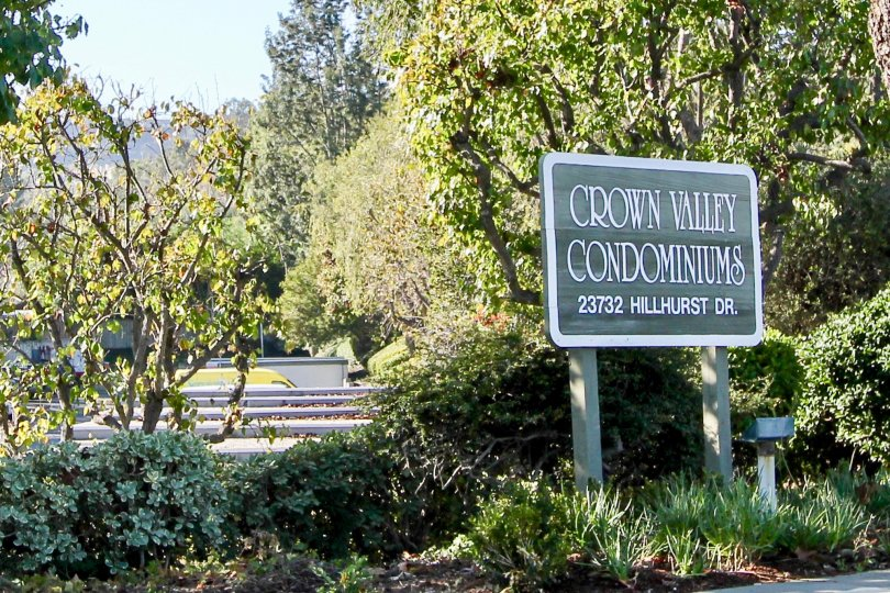 The wooded area of the Crown Vally Condominimus in the community of Hillhurst Condos in Laguna NIguel, California