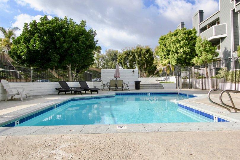 A pool side view of the Marin Colony community in Laguna Nigel, California.