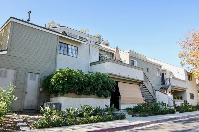 A clear blue sky over the Village Niguel Terrace condominiums.