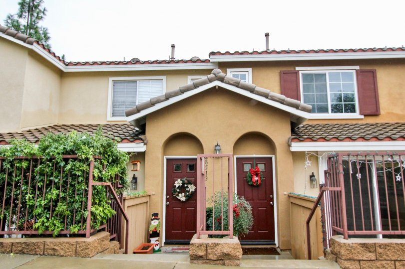 Inviting multifamily homes in the community of Palermo in Lake Forest, California at Christmas time