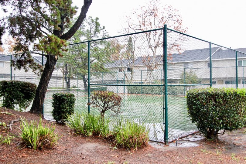 A green fence surrounds a large tennis court at the Richwood community in Lake Forest, California.