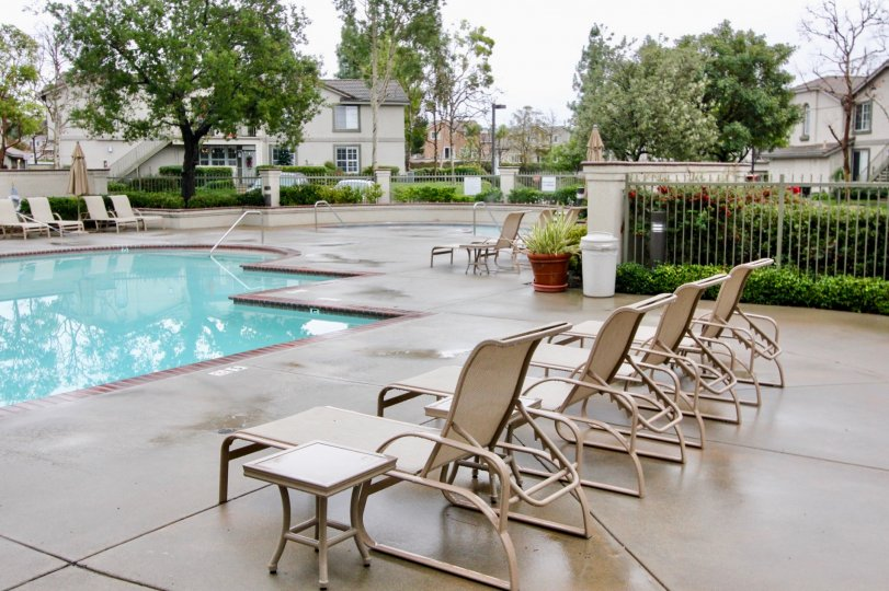 Overcast and poolside at Salerno in Lake Forest, CA