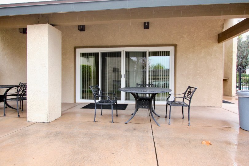 Private lanai in Serrano Creek Villas community on a rainy day