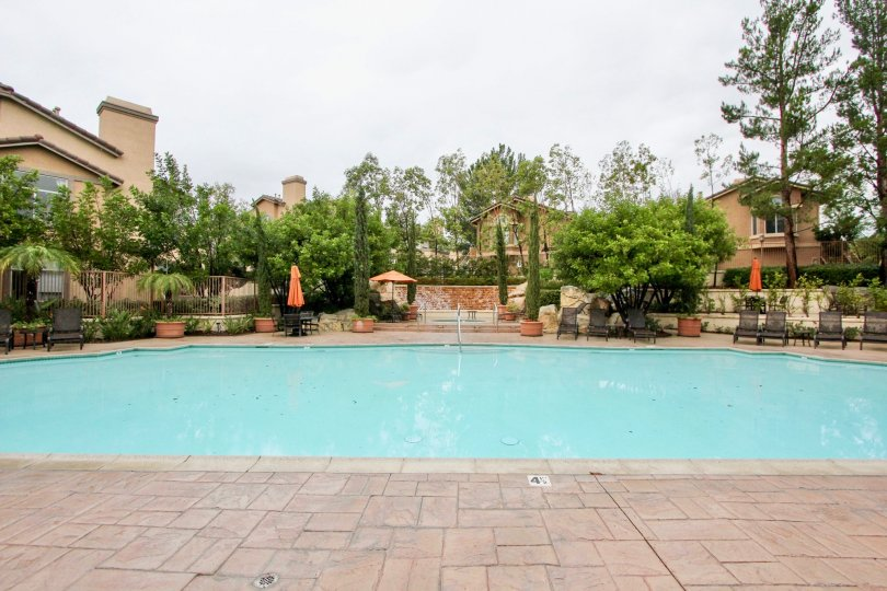 A pool view at Tuscany at Foothill Ranch in Lake Forest California
