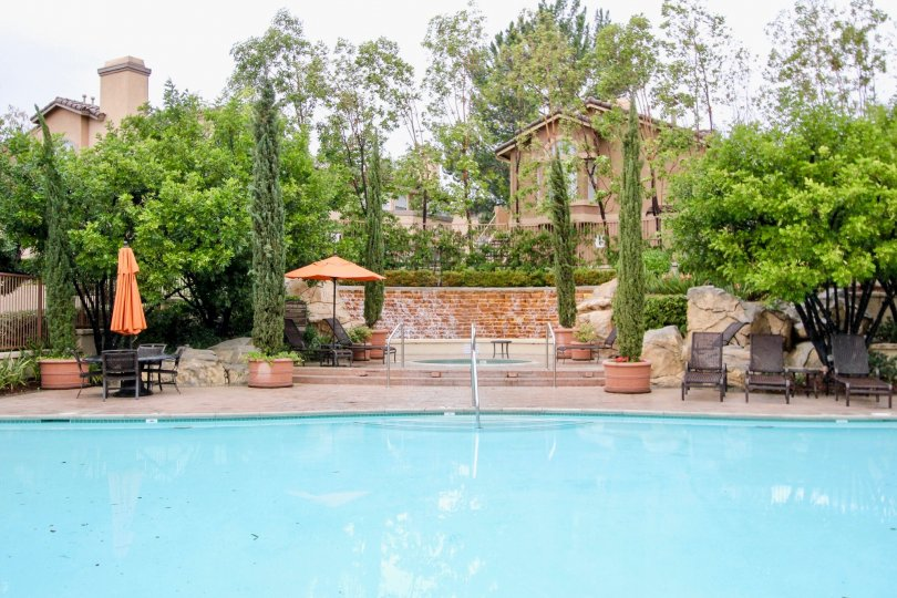 Trees and pool at Tuscany at Foothill Ranch in Lake Forest, CA