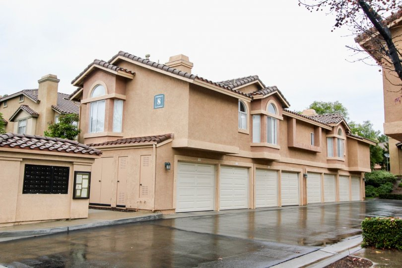 Rain and garages at the Tuscany at Foothill Ranch in Lake Forest, CA