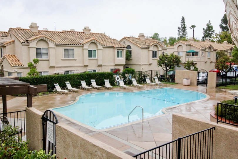 backyard pool with deckchairs at vista del flores lake forest california