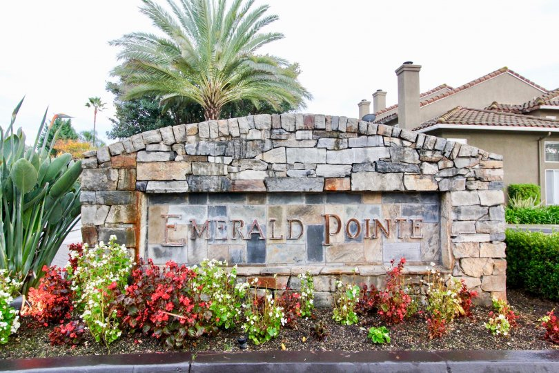 Sign and flowers at Emerald Pointe II in Mission Viejo, CA